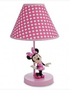 Disney Minnie Mouse Lamp for Baby,Minnie Mouse on Pink Base,Pink Polka Dot Shade