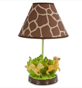 Disney Lion King Lamp for Baby,Simba & Nala Playing on Greenery Base,brown Giraffe Print Shade