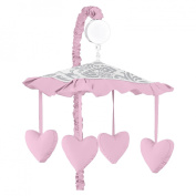 Pink, Grey and White Elizabeth Musical Baby Crib Mobile by Sweet Jojo Designs