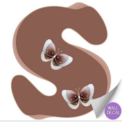Brown Butterfly Alphabet Letter Initial Wall Sticker Vinyl Stickers - Decal Letters for Children's, Nursery & Baby's Room Decor, Baby Name Wall Letters, Girls Bedroom Wall Letter Decorations, Child's Names. Butterflies Mural Walls Decals Baby Shower