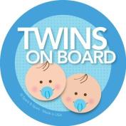 Twins on Board Car Sticker - Brunette twin boys on board - Modern and Unique - Bright Colours