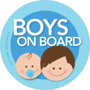 Boys on Board Car Sticker - Brunette boy+baby on board - Modern and Unique - Bright Colours