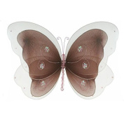 The Butterfly Grove Sasha Butterfly Decoration 3D Hanging Mesh Nylon Layered Decor, Chocolate Brown, Small, 13cm x 10cm