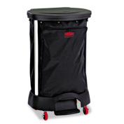 Step-On Linen Hamper Bag, 13 3/8w x 19 7/8d x 29 1/4h, PVC-Lined Nylon, Black