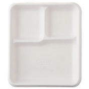 Heavy-Weight Molded Fiber Cafeteria Trays, 3-Comp, 8 1/4 x 9 1/2, 500/Carton