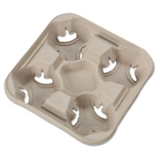 Chinet StrongHolder Moulded Fibre Cup Trays, 8-950ml, Four Cups, 300/Carton
