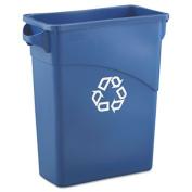 Slim Jim Recycling W/Handles, Rectangular, Plastic, 15.875gal, Blue