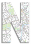 The Home Stupell Home Decor Collection London Map Hanging Wooden Initial, N, 46cm