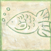 Green Frog Art 6X6 Canvas Gallery Wrapped Art, Fish Tale
