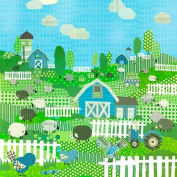 Oopsy daisy, Fine Art for Kids Counting Sheep and Birdies Blue Stretched Canvas Art by Winborg Sisters, 53cm by 53cm