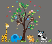 Baby Nursery Wall Decals Safari Jungle Children's Themed 224cm X 229cm (Inches) Animals Trees Monkey Zebras Giraffes Elephants Tigers Wildlife Made of Seramark Material Repositional Removable Reusable Wall Fabric