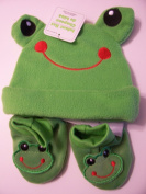 Infant Animal Hat and Booties Set ~ Frog