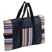 Clara Clark Indoor/Outdoor All-Purpose Fold-Up Blanket 137cm x 213cm - Multi Colour Stripe - Carrying bag with Storage Pockets, Nylon Water Resistant Backing, Polyester Cushioning Filling, Light weight Great for Travelling, Beaches, Picnic, Camping, Sp ..