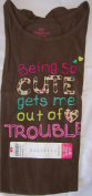 "Okie Dokie Match-ups "" Being so Cute Get's Me Out of Trouble "" Long Sleeve Shirt Brown / Leopard Girls Size 6 / L Large"
