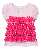 Laura Dare Baby-Girls Pink Polka Dot Ruffle Puff Sleeve Top Shirt