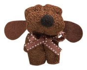 Puppy Dog Towel Favour With Adorable Brown Satin Ribbon Collar