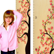 Tall Tree of Life Wooden Growth Chart - Flower Blossom