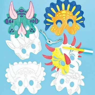 Colour-in Dinosaur Masks (Pack of 6)