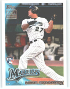 2010 Topps LIMITED EDITION HTA Holiday Factory Set Rookie Variation Baseball Card # RC6 Mike Stanton (Florida Marlins) MLB Trading Card in a Protective Screwdown Case