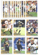 2010 Topps New Orleans Saints Team Set of 19 cards including Drew Brees, Reggie Bush, Marquest Colston, rookies of Patrick Robinson, Charles Brown, Jimmy Graham, and more