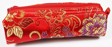 Red and Gold Fabric With Purple Floral Decoration Make-Up/Cosmetics Bag, 6.5 inches/17cm Length, 2 inches/5cm Width (Cosmetics Not Included)