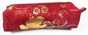 Dark Red Fabric With Multi-Floral Decoration Make-Up/Cosmetics Bag, 6.5 inches/17cm Length, 2 inches/5cm Width