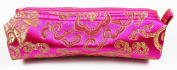 Magenta and Gold Fabric Make-Up/Cosmetics Bag, 6.5 inches/17cm Length, 2 inches/5cm Width