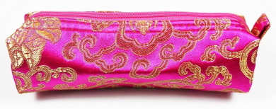 Magenta and Gold Fabric Make-Up/Cosmetics Bag, 6.5 inches/17cm Length, 2 inches/5cm Width (Cosmetics Not Included)