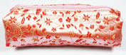 Pink and Red Fabric With Floral Decoration Make-Up/Cosmetics Bag, 6.5 inches/17cm Length, 2 inches/5cm Width