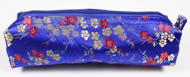 Royal Blue/Gold/Red Fabric With Floral Decoration Make-Up/Cosmetics Bag, 6.5 inches/17cm Length, 2 inches/5cm Width (Cosmetics Not Included)