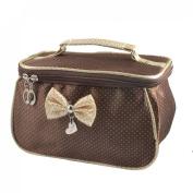 Women Dots Printed Bowknot Decor Zipper Cosmetic Bag Pouch Coffee Colour