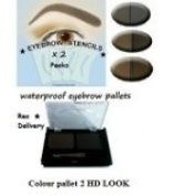 colour 2 Semi Permanant Waterproof Eyebrow Powder kit use with high definitioned brows & eyeluvbrows with 4 x stencils