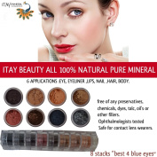 """Best 4 Blue Eyes"" 8 Stacks EyeShadow Eye Shimmer By ITAY Beauty Cosmetics Mineral"