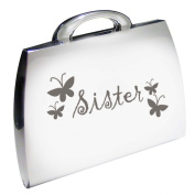 Silver Finish Engraved Sister Handbag Compact Mirror with Butterflies Great Gifts Idea for Birthday Gift Christmas Presents