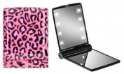 """Gift for her! The ORIGINAL Model Mirror® compact mirror with lights - """"Lush Leopard"""". See what Net-a-Porter, Cosmopolitan and Elle Magazine say!"""