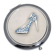LADY Silver Blue Crystal Shoe Double Mirror Compact