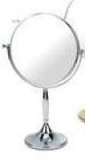 Danielle 7x Magnification 17.5 cm Diameter Chrome Pedestal Mirror - 33 cm High