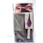 """Trend Tweeze Stainless Steel G3 LED Lighted Precision Tweezers """"Purple"""" with. Crystal + Travel Bag + Aviva Eco Nail FileS"""