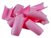 100 Pink Glitter Fake Nails Nail Tips French Acrylic FREE GLUE