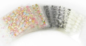 6 Sheets Of 3D Nail Art Tips Stickers False Nail Design Manicure Decals Gems Glitter Toe