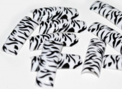 100 FALSE FRENCH ACRYLIC NAIL ART TIPS BLACK & WHITE LEOPARD