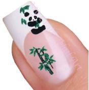 Panda Bear and Green Tree Adhesive Nail Stickers Art