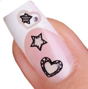 White Hearts and Stars Nail Stickers Art / Decals with Rhinestone