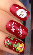 NAIL ART WATER DECALS TRANSFERS STICKERS MERRY CHRISTMAS SANTA/HOLLY/BELLS #818