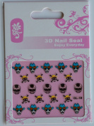 GGSELL GL Stereoscopic 3D nail art nail decals nail stickers white skull with blue hat black skull with yellow hat