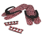 Walk on the Wildside - Spa Style Flip Flop Nail Painting / Pedicure Kit - Pink Leopard Print