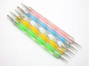 5x 2way Multiple Colour Dotting Pen Marbleizing Tool Nail Art Paint Manicure Pedicure