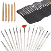 TRIXES Pro 20pc Nail Art Design Painting Detailing Brushes & Dotting Bundle Kit
