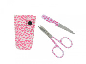 Babiface Cuticle Scissors And File In Fancy Pouch - Pink Hearts