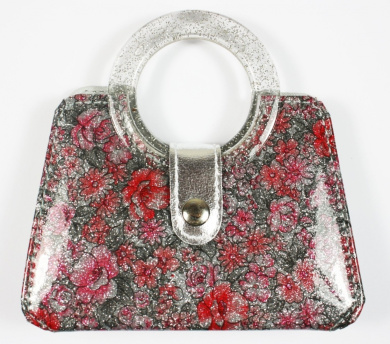 Elegance Manicure Set with Pink/Red Floral Decoration and glitter effect, in style of handbag with handle and button clip, Both Length and Height 4.5 inches / 12cm Approx (includes scissors, tweezers, nail clippers, nail file and cuticle t ..